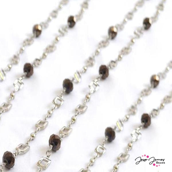 Charcoal Grey Silver Beaded Chain