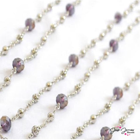 Concord Purple Beaded Silver Chain