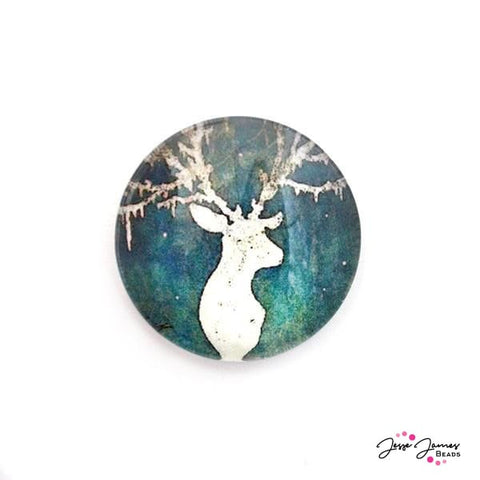 Cabochon Forest Vines Green Deer