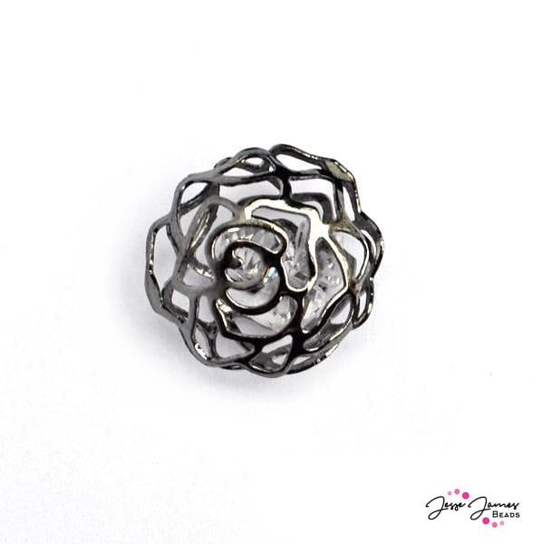 Gunmetal Rose Cage Bead With Crystal