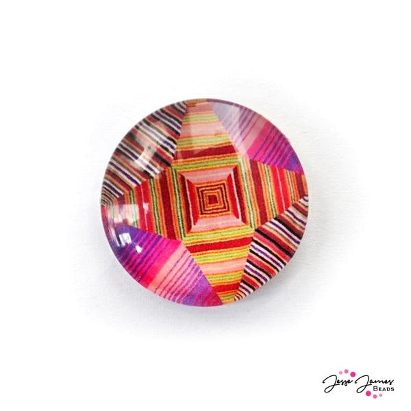Hot Pink Geo Burst Cabochon