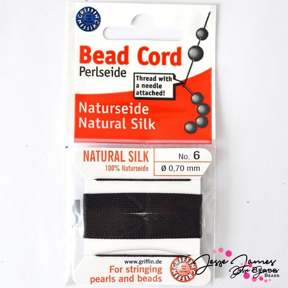 Black Natural Silk Bead Thread No. 6