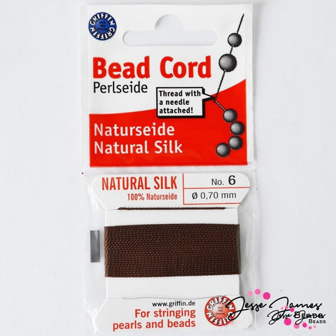 Natural Silk Bead Thread No.6 Brown