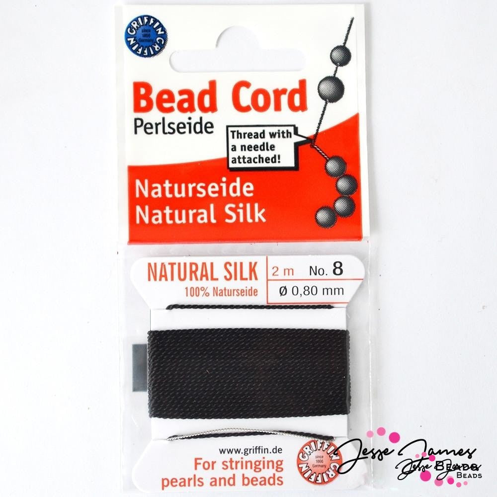 Black Natural Silk Bead Thread No. 8
