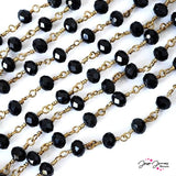 Chain Jet Black Faceted Beaded