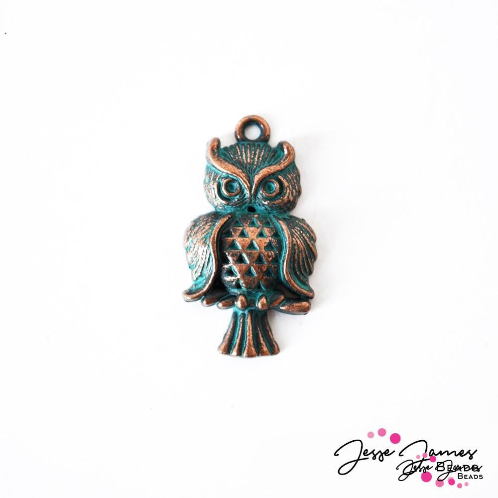Patina Green Metal Owl Charm