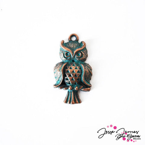Charm Patina Green Metal Owl