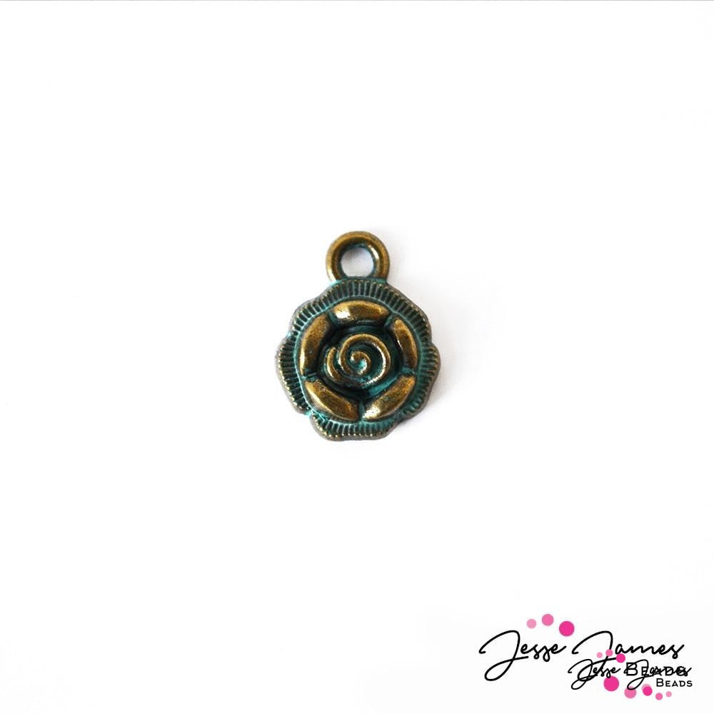 Patina Green Metal Rose Charm