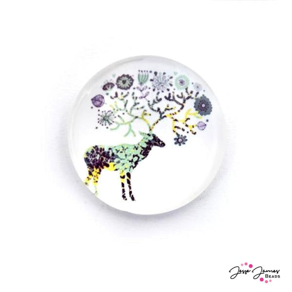 Purple Botanical Deer Cabochon