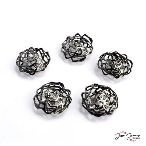Rose Cage Crystals 5 Set Gunmetal