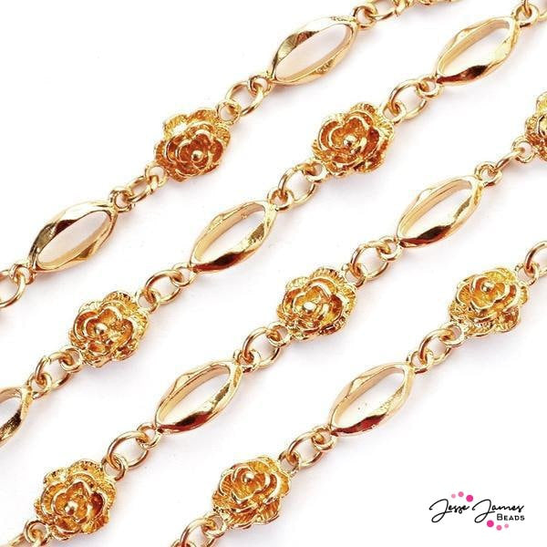 Roses Are Gold Metal Chain