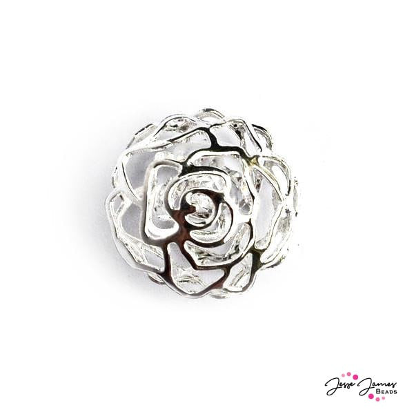 Silver Rose Cage Bead With Crystal
