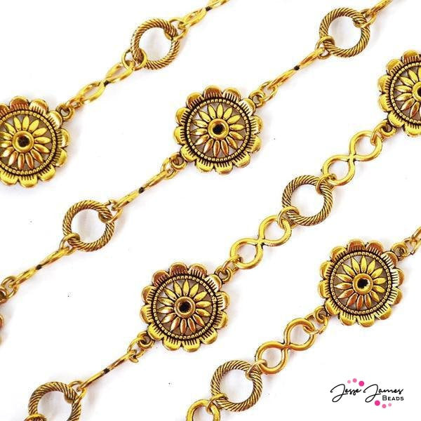 Chain Sunflower Gold Metal One Foot