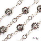 Chain Sunflower Silver Metal One Foot
