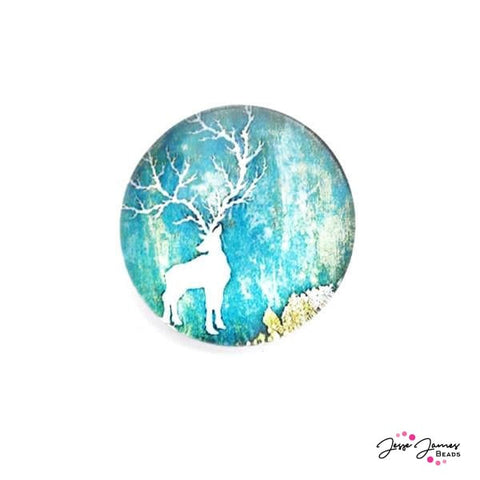 Cabochon Watercolor Green Deer