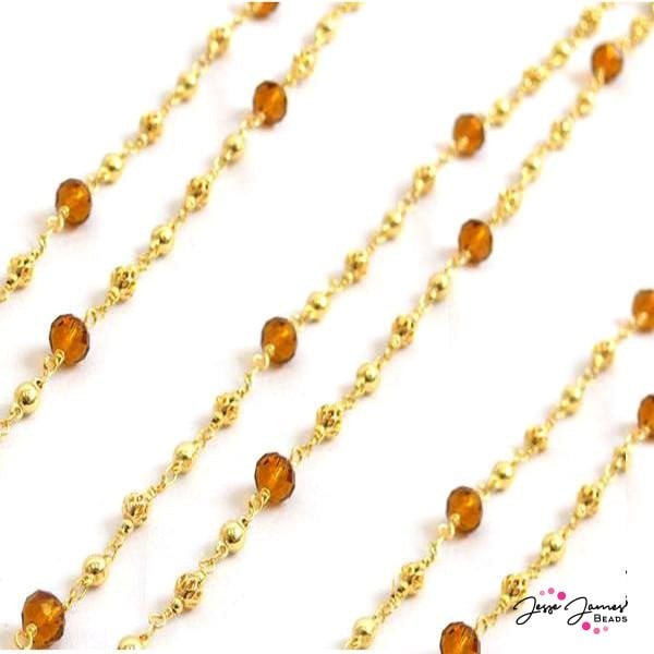 Waves of Amber Grain Beaded Chain