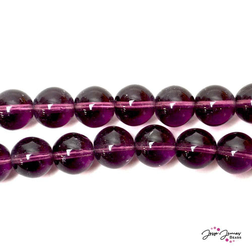 Amethyst 12mm Czech Glass Round Druk Beads