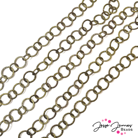 Chain Antique Gold Distressed Belcher Round Metal