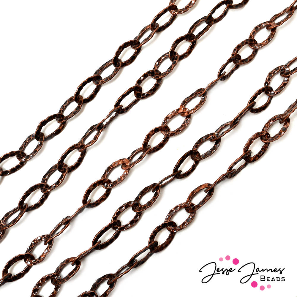 Antique Copper Hammered Metal Oval Chain