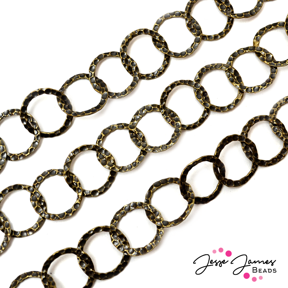 Antique Gold Hammered Cable Metal chain