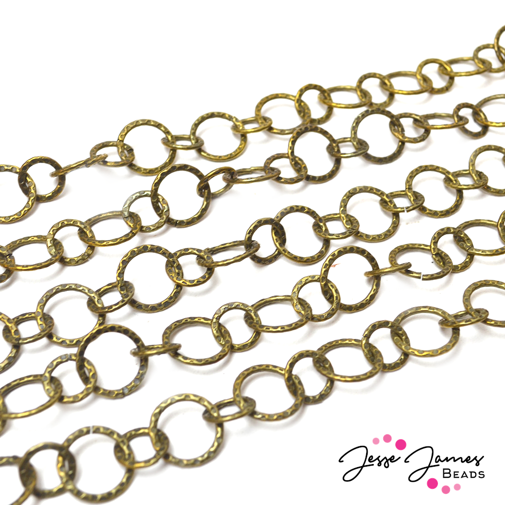 Gold Distressed Belcher Round Metal Chain