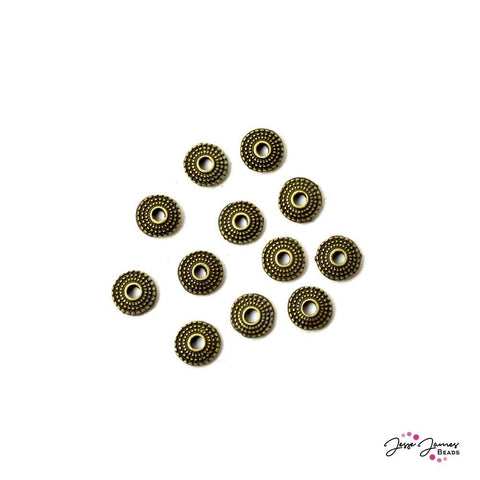 Bead Spacer Set Antique Gold Metal Flats