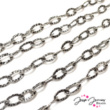 Antique Silver Hammered Cable Metal chain