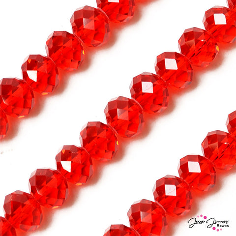 Bead Set Apple Red 14mm Big Boy Rondelle Beads