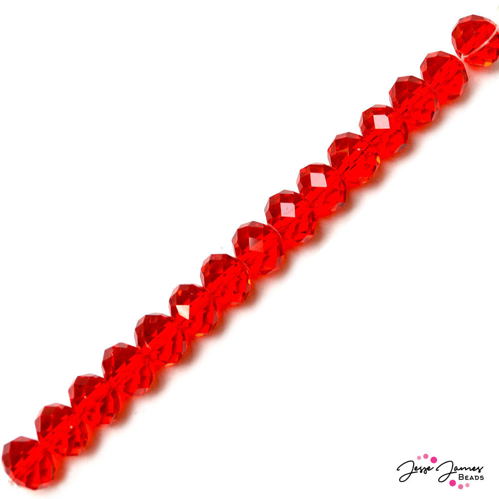 Apple Red 14mm Rondelle Bead Strand