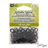 Artistic Wire Chain Maille Rings in Black 18g