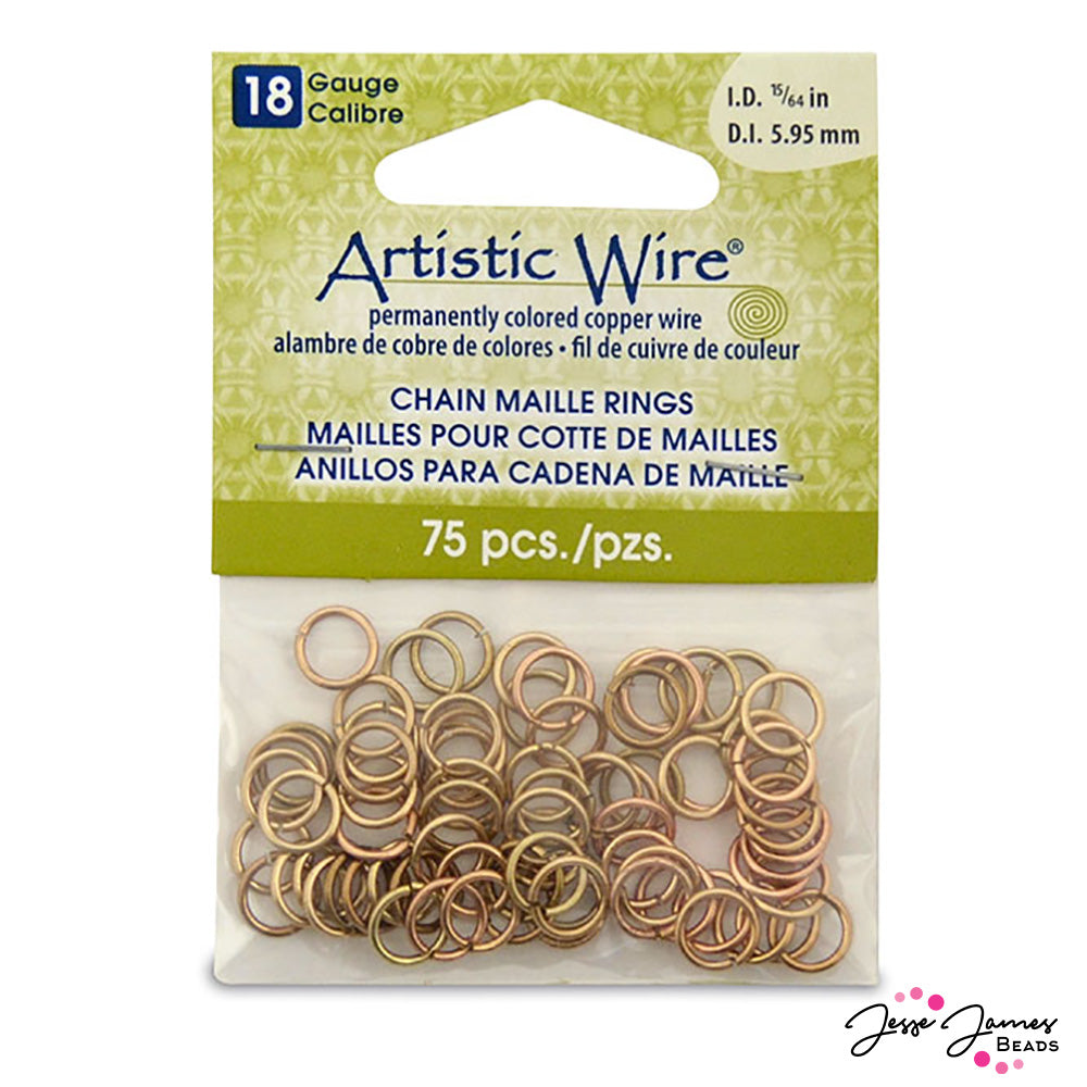Artistic Wire Chain Maille Rings in Non-Tarnish Brass 18g