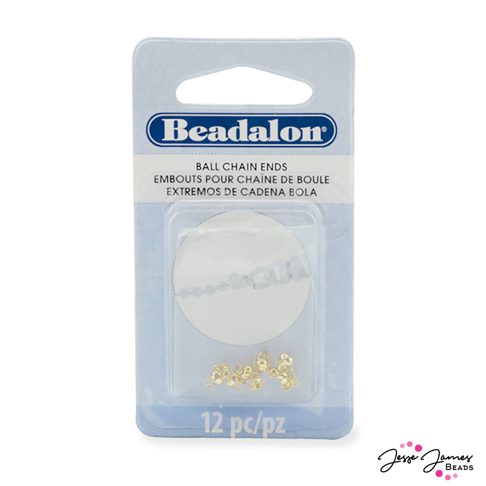 Beadalon Ball Chain End Findings, Gold