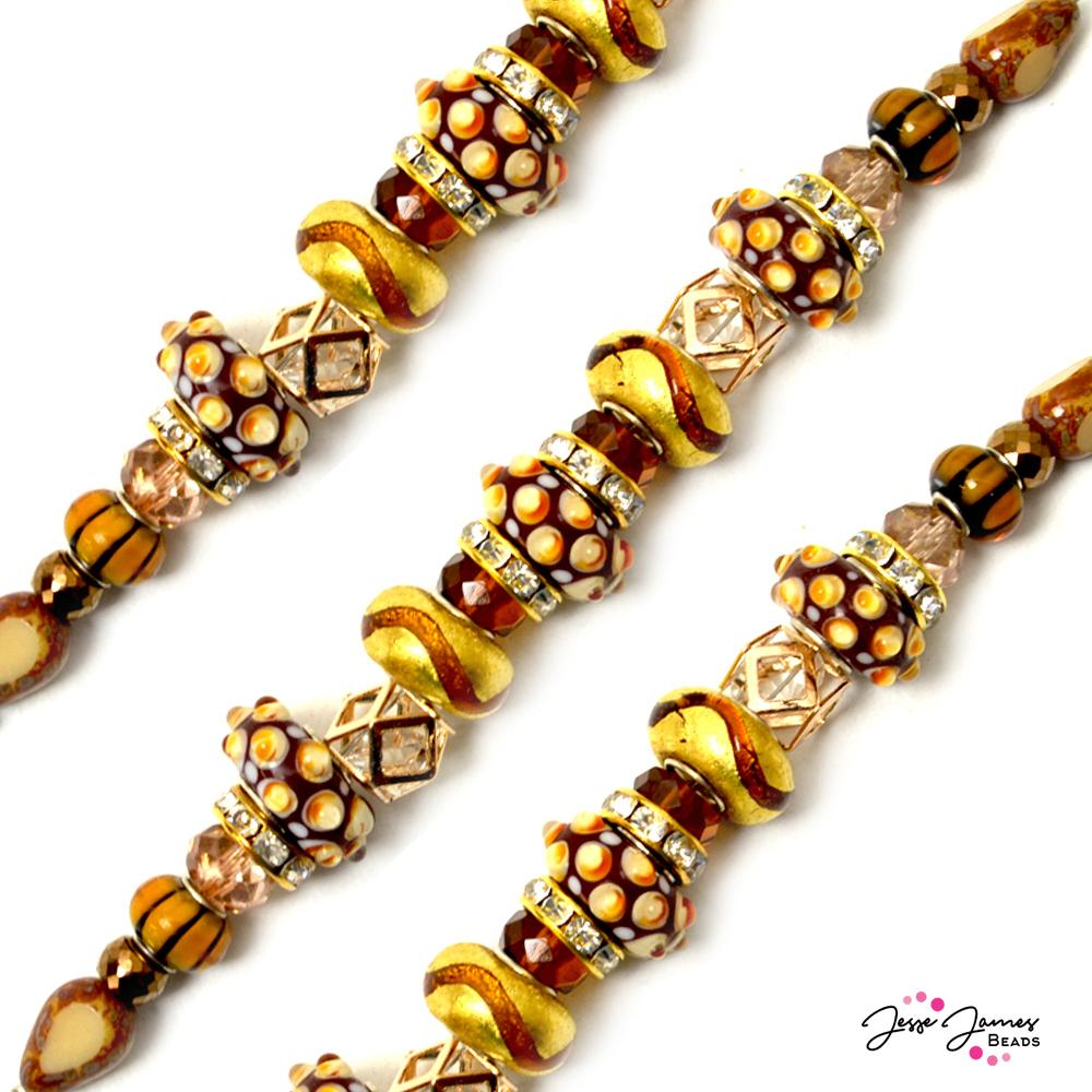 Bead Strand in Golden Chocolate Lampwork Shorty