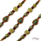 Tibetan Boho Bead Strand in Fire & Water