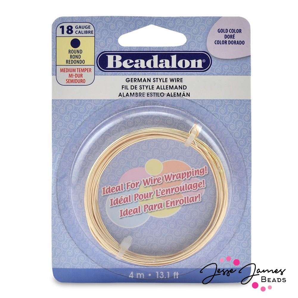 Beadalon German Style Hard Wire in Gold 18g