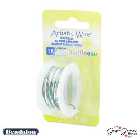 Beadalon Multicolor Wire in Silver Black & Green 18 Gauge
