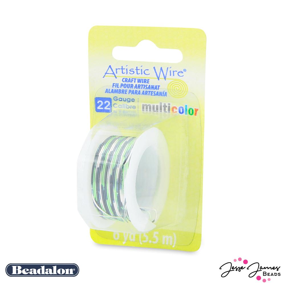 Beadalon Multicolor Wire in Silver Black & Green 22 Gauge