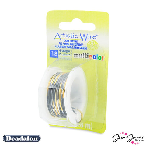 Beadalon Multicolor Wire in Silver Gold & Black 18 gauge