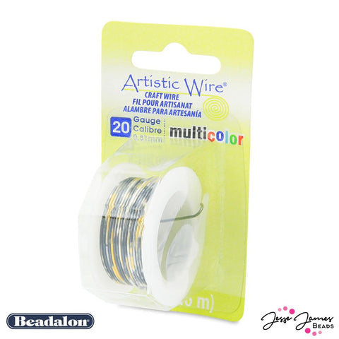 Beadalon Multicolor Wire in Silver Gold & Black 20 gauge