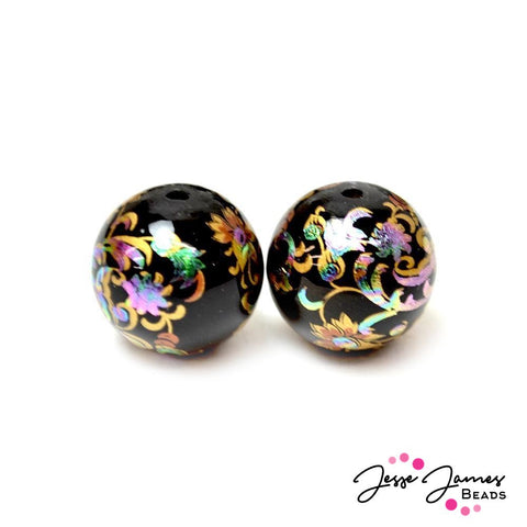 Japanese Tensha Bead Pair Holographic Haze 18MM