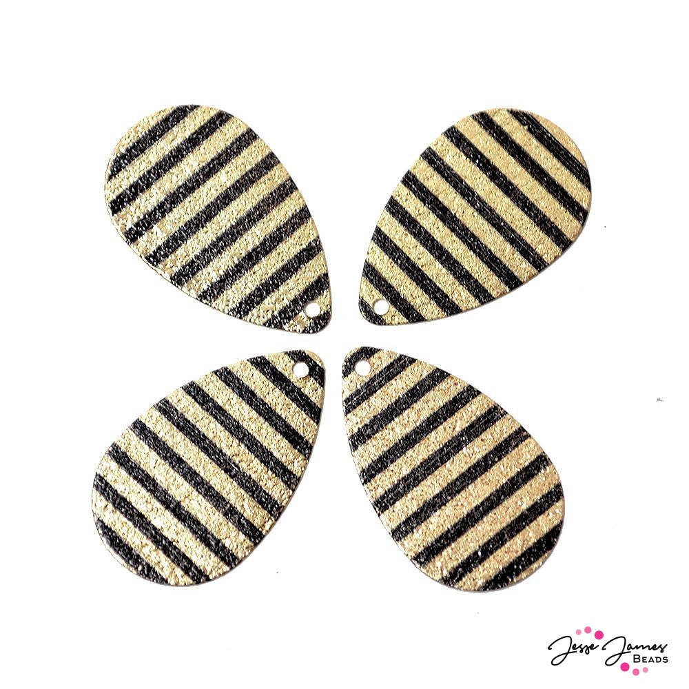 Pendant Set Seeing Stripes Black & Gold Glitter