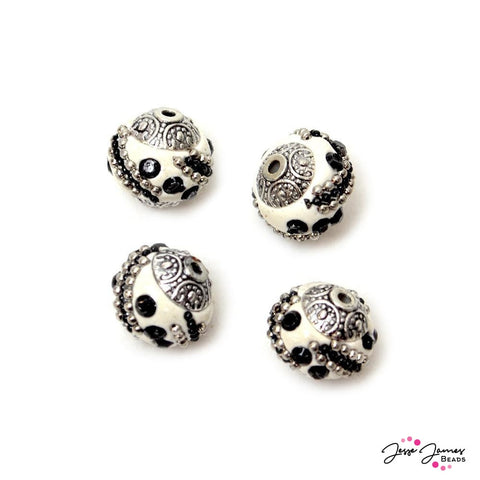 Boho Bead Set Black & White Mini
