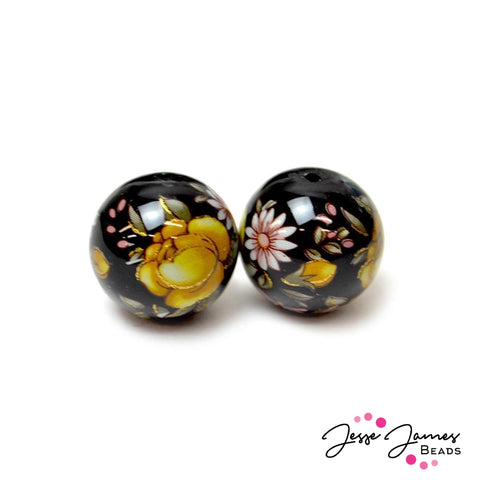 Japanese Tensha Bead Pair Flower Of Friendship on Black 16MM