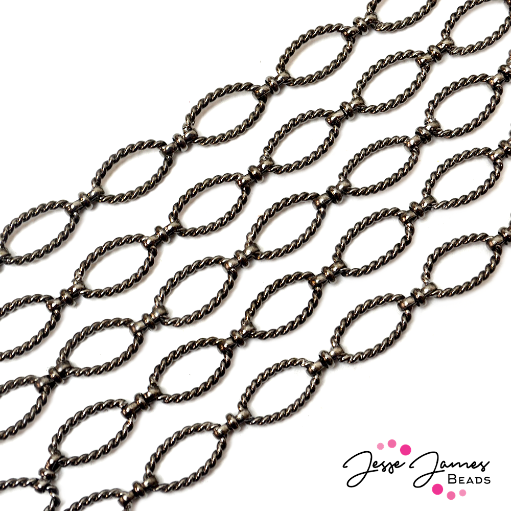Gunmetal Twisted Oval Link Metal Chain