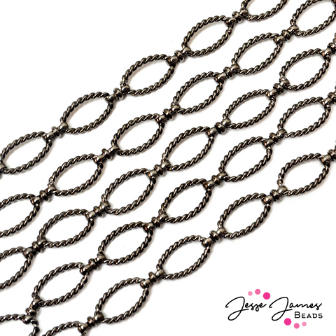 Chain Gunmetal Twisted Oval Link Metal