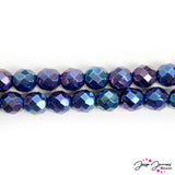 Blue Czech Fire Polish Glass Beads in Ocean Floor