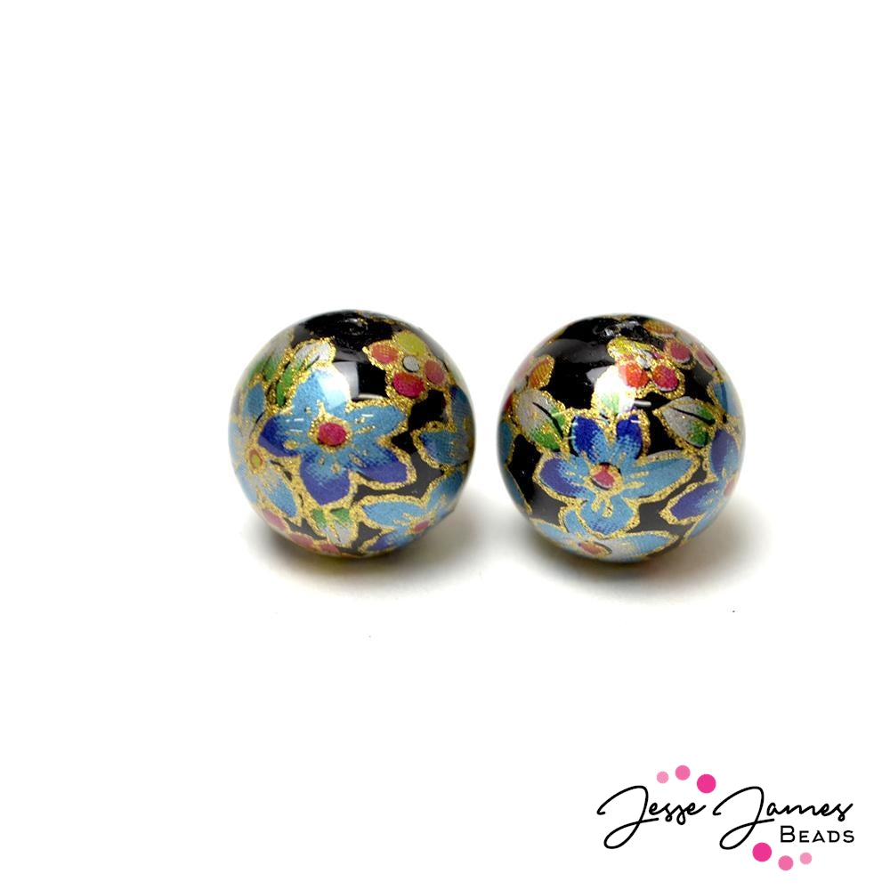 Blue Lillies on Black 14MM Japanese Tensha Bead Pair