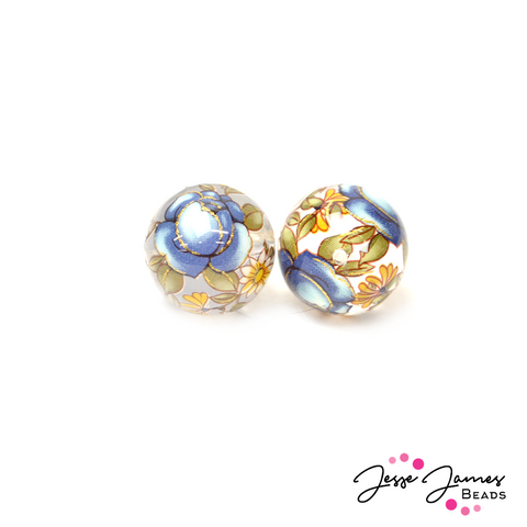 Japanese Tensha Bead Pair in Indigo Roses On Clear 14MM