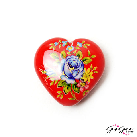 Japanese Tensha Focal Bead in Blue Rose on Red Heart 23mm