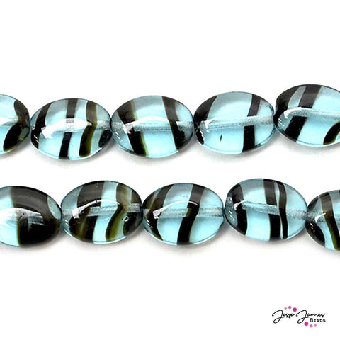 Blue Tiger 12x9mm Czech Glass Oval Beads